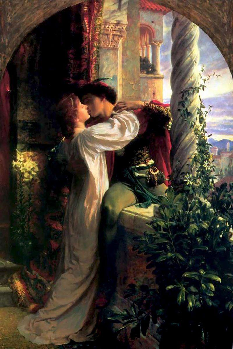 Reprezentarea scenei celebre din balcon cu Romeo si Julieta, pictura de Frank Dicksee, Wikipedia.
